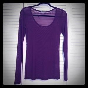 Purple mesh long sleeved top